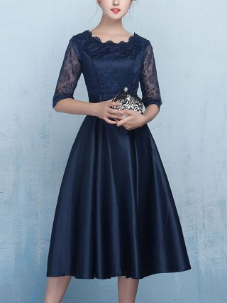 2020 Fashion Lace Stitching Satin Bow-front Half Sleeve Midi Bridesmaid Party Prom Homecoming Dresses Plus Size