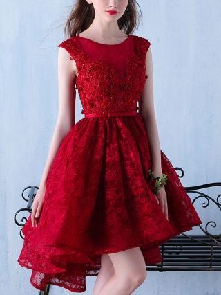 Short Wedding Prom Dress Elegant Beaded Lace Flowers Bow-front Backless High-low Homecoming Dresses