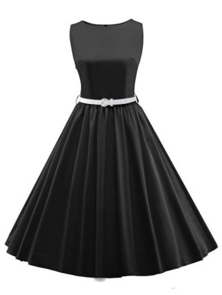 Vintage Rockabilly 50s Audrey Hepburn Dress Sleeveless Party Evening Cocktail Formal Swing Waist Dress with Belt