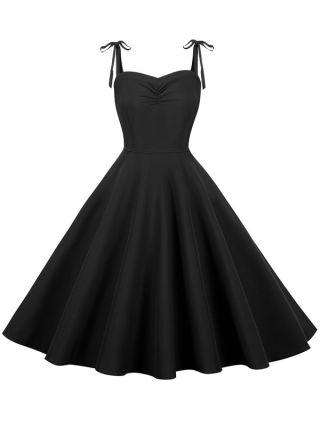 Audrey Hepburn Style Vintage Dress 50S Sleeveless Cotton Party Inspired Swing Dress