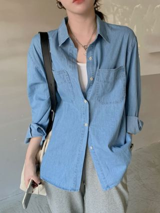 Blue Denim Shirt Casual Cotton Single-breasted Tops for Women
