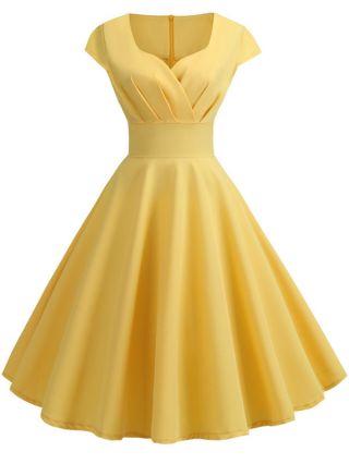 Audrey Hepburn Style Vintage Short Sleeve Cotton Midi Summer Swing Party Dress