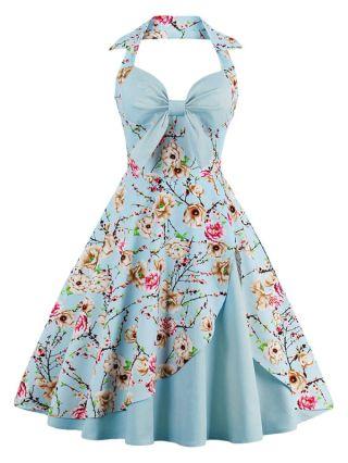Vintage Audrey Hepburn Dresses Halter V-neck Bow Floral Printed Backless Cotton Swing Party Midi Summer Dress