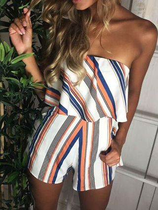 Multi-color Stripes Printed Strapless Flounced White Rompers