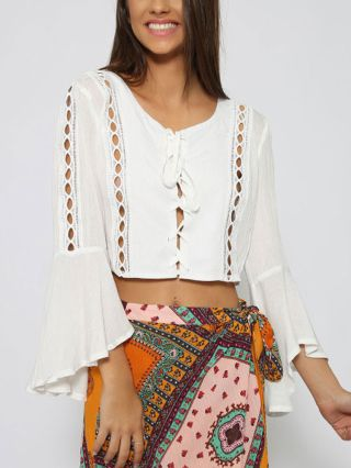 New Summer White/Black Bell Sleeve Round Neck Lace-up Short Cropped Blouse