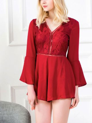 Summer V-neck Lace Stitching Bell Sleeve Backless Rompers
