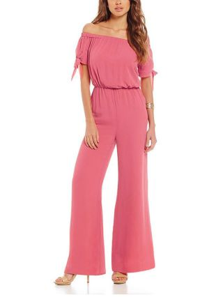 Summer Off-the-shoulder Short Sleeves Knotted Cuffs Floral Printed Chiffon Jumpsuits