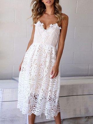 White Summer Lace Dresses V-neck Midi Slip Bohemian Dress