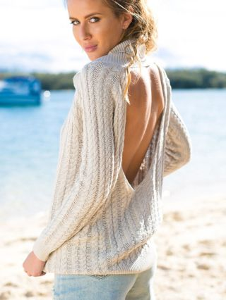 Apricot High-necked Backless Long Sleeve Open Back Knit Sweater