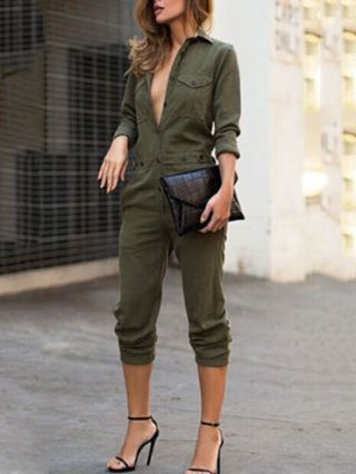 Army Green Lapel Long Sleeve Jumpsuit Siamese Pants Trousers