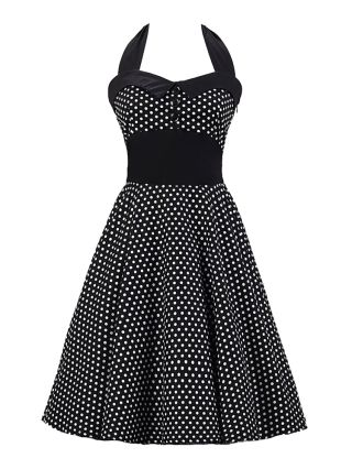 Audrey Hepburn Swing Halter Dress 50s Vintage Polka Dot Printed Stitching Sleeveless Cotton Party Inspired Dress with Buttons