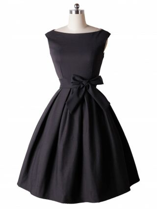 Audrey Hepburn Vintage Dress 50s Sleeveless Cotton Party Swing Inspired Dress with Belt