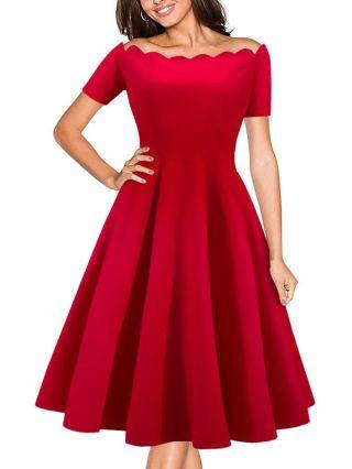 Audrey Hepburn Vintage Dress Short Sleeve Off Shoulder Rockabilly Swing Dresses