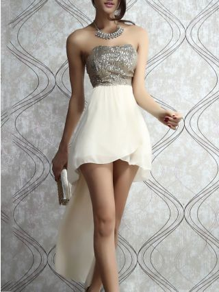 Plus Size High-low Homecoming Dress Bandeau Sequined Backless See-through Club Dress