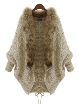 Beige Cape-Style Rabbit Fur Collar Knit Sweater Cotton Cardigan Coat with Long Sleeves