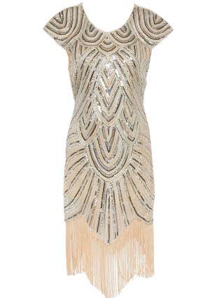 Beige Sequins Tassel Decorated Vintage Gatsby Flapper 1920s Dress