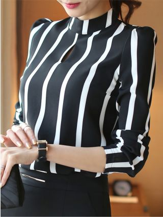 Black and White Striped Chiffon Shirt with Long Sleeves Plus Size