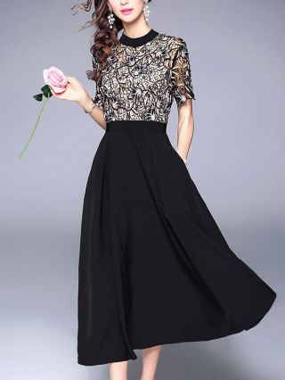 Black Long Prom Dress Summer Lace StItching Short Sleeves High Waist Maxi Swing Party Evening Dresses