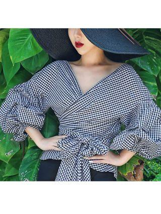 Black Plaid Criss-Cross Bow-Front Bandage Bubble Sleeve V-neck Cotton Blouse Plus Size
