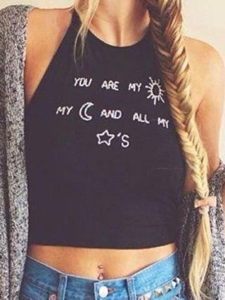 Black Sleevelss Letters Printed Strap Cropped Tank Tops