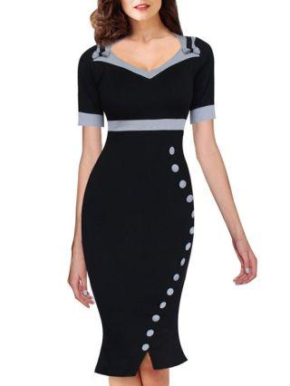 Black V-neck Business Work Dress Short Sleeve Mermaid Hem Bow Buttons Midi Pencil Dress