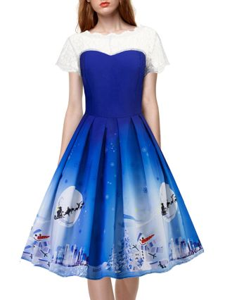 Audrey Hepburn Style Blue Cute Christmas Party Dresses White Lace Stitching Snowflake Snowman Printed Short Sleeves Midi Swing Summer Dress