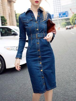 Blue Denim Dress Lapel Single-breasted Long Sleeves Back Split Casual Belted Dresses