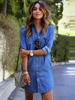 Blue Pocket Casual Chambray Shirt Dress