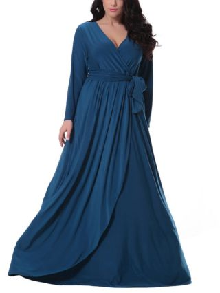 Blue Plus Size V-neck Long Sleeves Cotton Irregular Swing Long Evening Gown Dress with Belt