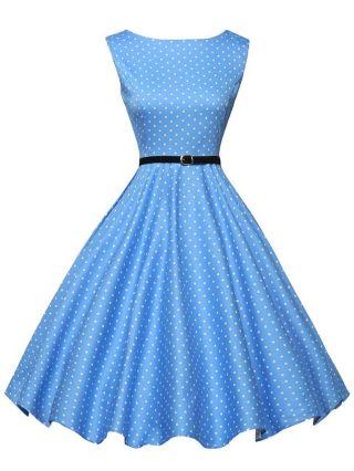 Blue Sleeveless Polka Dots Printed Audrey Hepburn 50s Vintage Swing Dress with Belt