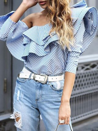 Blue Stripes Off The Shoulder Long Sleeve Ruffled Blouse