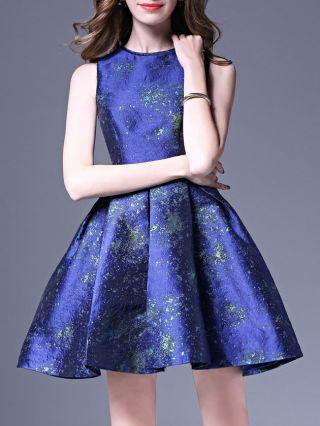 Blue Sundress Summer Sleeveless Jacquard Mini A-line Dresses