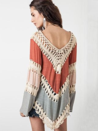 Bohemia Long-Sleeved Crochet Pierced Bikini Cover-up Sexy Sitching Color Beach Knit Smock