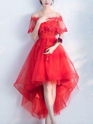 Bridesmaid Wedding Prom Dress Off Shoulder Lace Stitching Gauze Mesh High-low Graduation Dresses Plus Size
