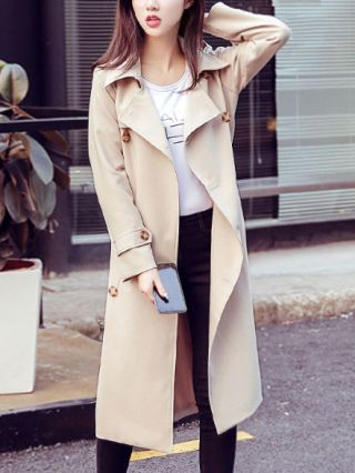 British Style Loose Long Sleeves Belted Double-breasted Trench Coat