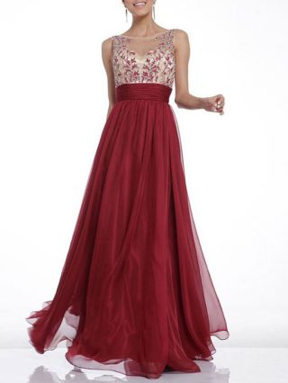 Valentines Day Dresses Burgundy Lace Embroidery Stitching Chiffon Backless Swing Evening Long Prom Dress