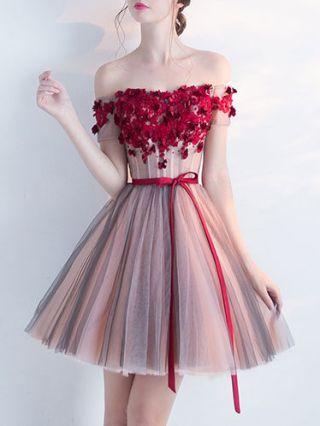 Burgundy Off The Shoulder Short Homecoming Dress Summer Elegant Lace Gauze Wedding Gown Banquet Evening Dress