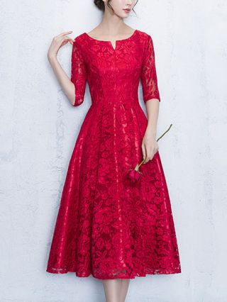 Burgundy Wedding Prom Dress Fashion Half Sleeve Lace Party Midi Homecoming Dresses