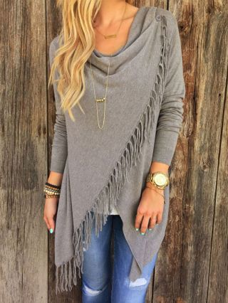 Casual British Style Loose Irregular Tassel Knit Sweater with Long Sleeve