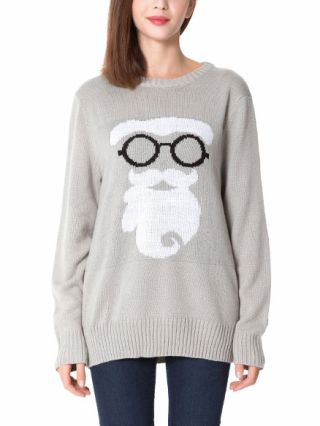 Casual Cartoon Santa Claus Printed Thick Knitted Ugly Christmas Sweaters Jumpers For Women