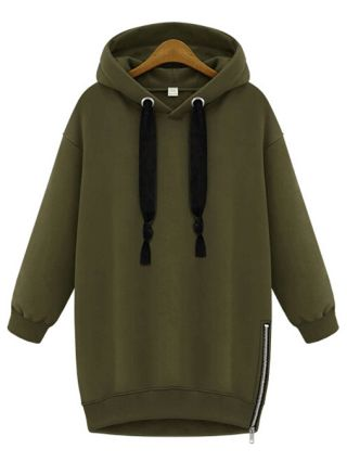 Casual Hooded Drawstring Straight Type Thick Cotton Hoodies