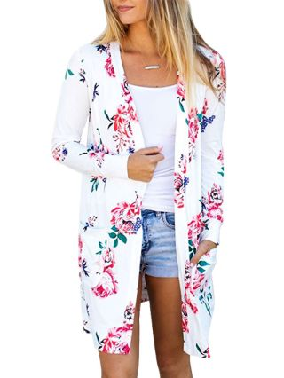 Casual Long Sleeve Flowers Printed Fall Outerwear 2020
