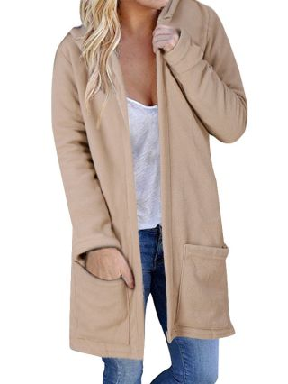Casual Long Thick Hoodies Straight Type Pocket Long Sleeves Hooded Clothes for Women