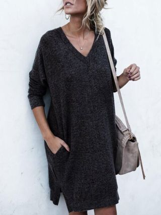 Casual V-neck Jumpers Pocket Long Sleeves Knit Sweater Dresses