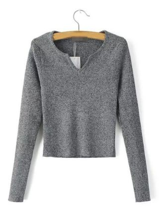 Casual V-neck Short Knit Cropped Sweater with Long Sleeve