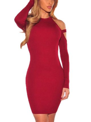 Cheap Sexy Long Sleeve Bodycon Tight Club Dress with Cold Shoulder