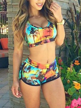 Cheap Summer Beach Palm Tree Two Piece Tankinis with Scoop Neck