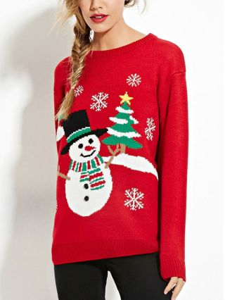 Christmas Tree Snowflakes Snowman Embroidery Long Sleeves Red Sweater
