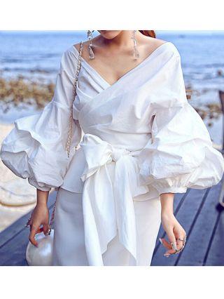 Criss-Cross Bow-Front Bandage Bubble Sleeve V-neck Cotton Blouse Plus Size