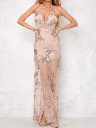 Deep V-neck Backless Sequins Slip Dress New Years Eve Party Maxi Dress